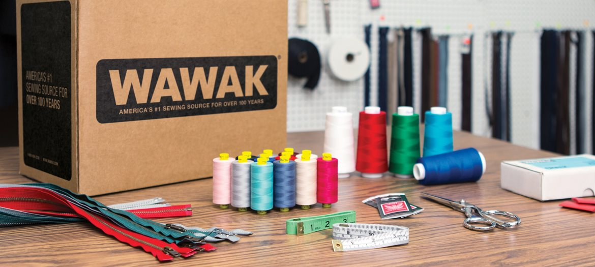 WAWAK Sewing Supplies Open Order Shipping Box Thread Zippers Measuring Tape Needles