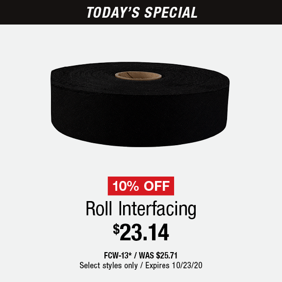10% Off Roll INterfacing