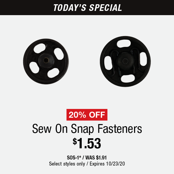 20% Off Sew On Snap Fasteners