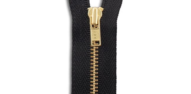 YKK Brass Jacket Zipper in Black Size 3 Zipper Teeth