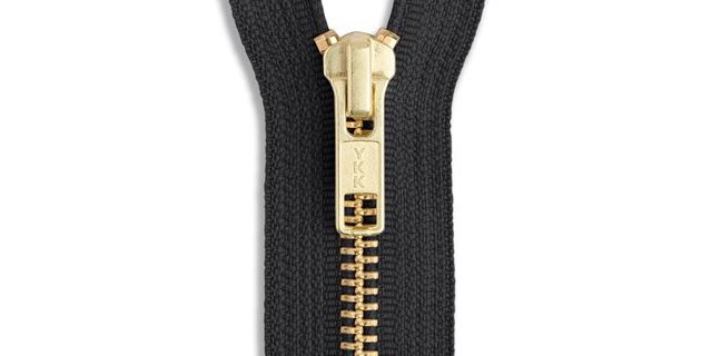 YKK Brass Jacket Zipper in Black Size 5 Zipper Teeth